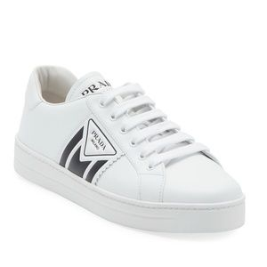 NEW Prada Embossed Logo Leather Sneakers
